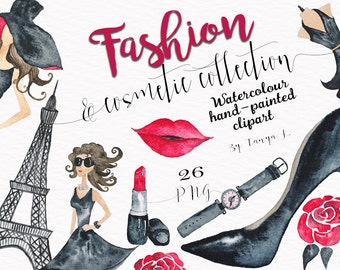 Fashion Clipart, Cosmetic Watercolor  Clipart, Fashion Girl Clipart, Commercial Use, Hand-painted Clipart, Black Pink Clipart,