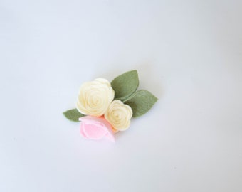 Yellow and Pink Felt Flower, Clip or Headband, Handmade