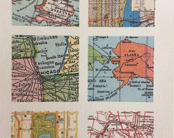 Vintage World Map Stickers, Set of 6