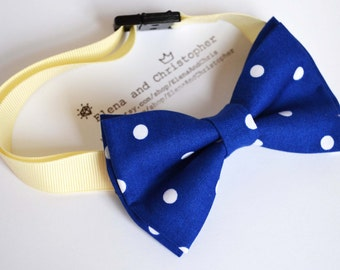 B094 Royal blue with White Dot Bow tie For Boy/Baby/Adult/With Adjustable strap/Clipon