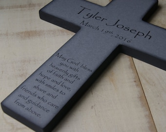 Personalized Christian Cross With Poem - Beautiful Baptism Gift for a Boy or Girl