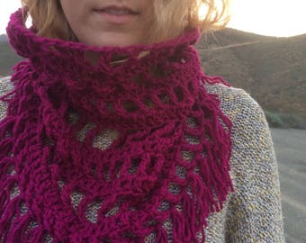 Berry Fringed Cowl
