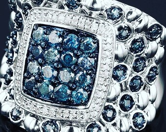 Blueberry fields blue sky 1 carat blue pave diamonds round white diamonds cigar band cocktail ring size 7