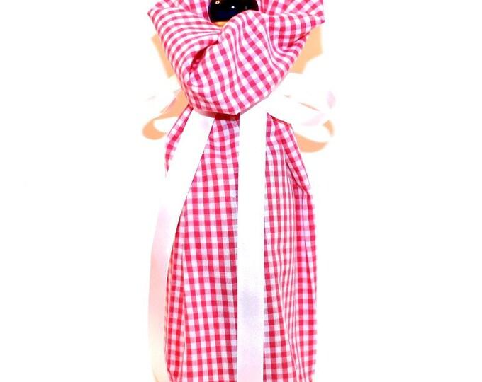 WINE GIFT BAG ~ Pink Gingham ~ Sack ~ Tote ~ Bell Art Designs WB48