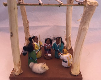 Navajo folk art nativity set