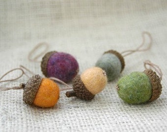 Felted wool acorns - set of 5 - green olive yellow multicolor wine melon ornament decoration office