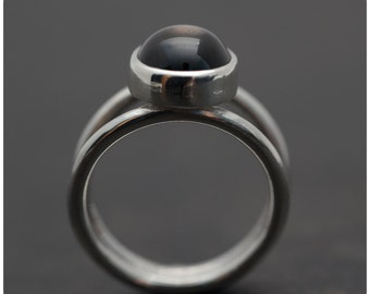 Black Star Sapphire and Sterling Silver Ring - Size 7 or custom