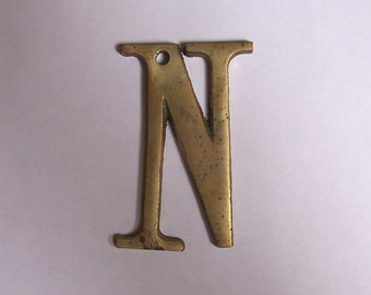 Architectural salvage - vintage brass letter N