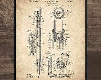 Blueprint art etsy mechanical pencil patent print mechanical drawing blueprint art artist gift gift malvernweather Image collections