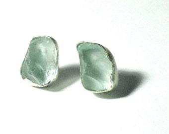 Sea Glass Earrings, Silver Ear Studs, Aqua Earings, Aquamarine, Silver Sea Glass, Silver Glass Earrings, Artisan Earrings,Handmade Earrings