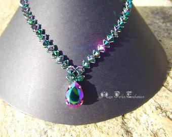 Beading pattern, beading tutorial beading crystal necklace, necklace Crystal Necklace, necklace tutorial pattern