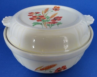 "Vintage Wild Poppy Casserole Dish / Lid ""Radiance"" 1930's Hall Pottery"