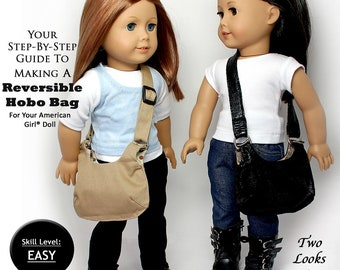 Pixie Faire Sew Urban Hobo Bag Doll Clothes Pattern for 18 inch American Girl Dolls - PDF