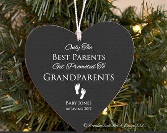 New Grandparents Ornament, Birth Announcement Ornament, Pregnancy Ornament, Personalized baby Ornament, Only the best parents get promoted