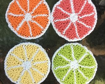 Handmade Knit Citrus Cork Coasters - Set of 4