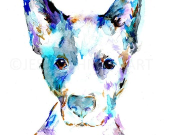 Blue Heeler Watercolor Print, Blue Heeler Art, Dog Painting, Dog Watercolor, Dog Illustration, Pet Portrait, Abstract Dog Painting
