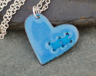 Valentine Jewelry Mended Broken Enamel Heart Pendant Necklace Copper Enameled Sewn Denim Blue