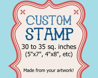 Big Custom Rubber Stamp - 5x7, 30 to 35 sq in Wedding Logo Address Clear