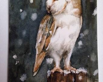 Barn owl A5 fine art print greeting card [blank inside]