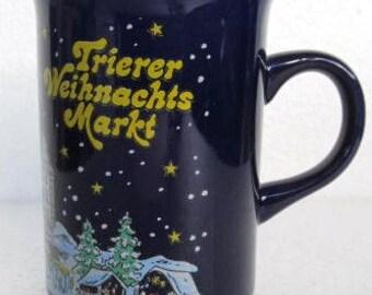 Cobalt Blue Trierer Weihnachtsmarket  Christmas Ceramic Slender Coffee Mug- by V. Kossinger Germany
