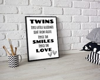 Twins print, Baby twins boy and girl room decor, Twin boy nursery art, Black and white twin brothers wall art, Twin quote Twin nursery decor