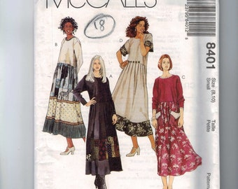 Misses Sewing Pattern McCalls 8401 Misses Loose Fitting Dress with Pockets and Embellishment Size Small 8 10 Bust 32 33 UNCUT