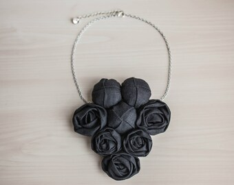 Black Statement Bib Necklace Natural Linen Necklace Fabric Necklace Fabric Jewelry Textile Necklace Rosette Statement Necklace Fabric Flower