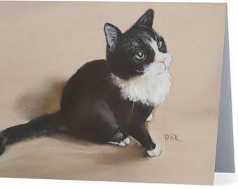 Sasha the Cat Folded Note Card & Envelope