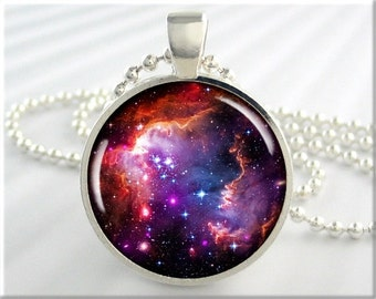 Magellanic Nebula Necklace, Picture Pendant, Magellanic Cloud Space Nebula, Resin Jewelry, Round Silver, Gift Under 20, Space Gift 686RS
