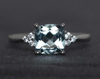 aquamarine ring cushion cut engagement ring blue gemstone rings sterling silver ring anniversary ring March birthstone ring