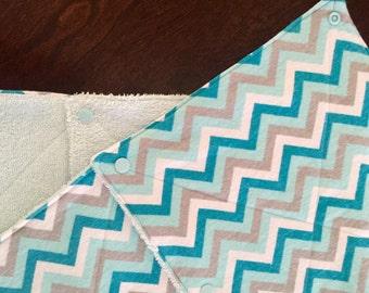 Unpaper towels Cloth Wipes chevron blue gray white aqua Set of 10
