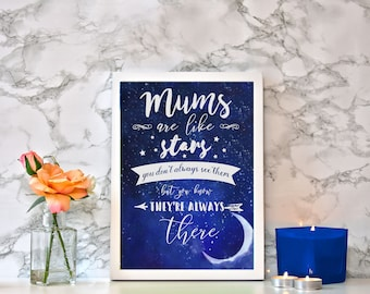 Framed Watercolour 'Mum's Are Like Stars' Print With White Frame - Perfect gift for Mother's Day