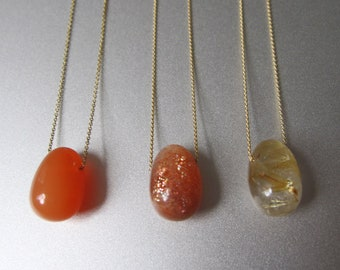 Solitaire Stone Jelly Bean Choose Your Stone Choose Your Chain Solid 14k Gold Necklace Batch 3
