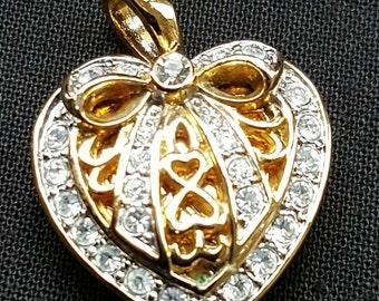 Gold Tone Crystal Heart Locket