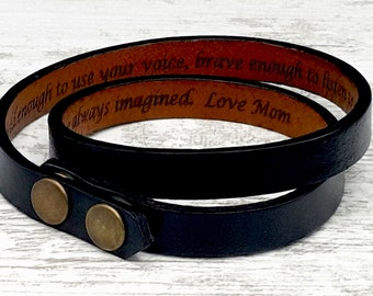 Secret Message Bracelet, Mens Leather Wrap Bracelet, Personalized Gift for Him, Custom Engraved Hidden Message Jewelry, Gift for Boyfriend