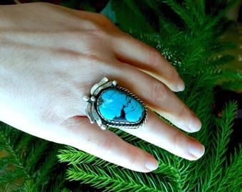 Antique Vintage Navajo Turquoise Sterling Silver Ring