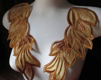 SAFFRON Beaded Lace Applique Pair for Lyrical Dance, Ballet, Costumes, Garments  PR 151saffron