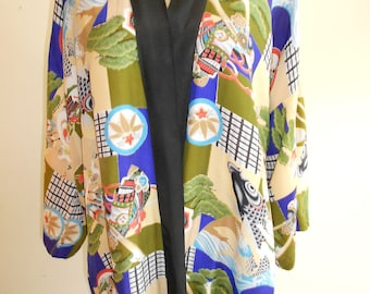 1950's one size fits all short rayon Japanese kimono
