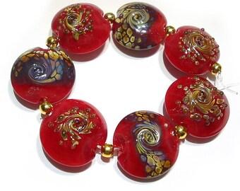 Glass SRA Lampwork Beads Handmade ,  Glorious Red Raku  Lentils