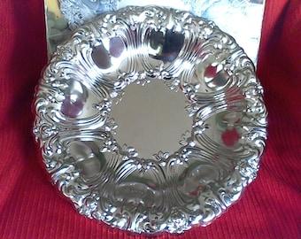 Round Bowl, Sterling craft  Mid century tray, platter, Entertaining Dinning,Tea Service tray