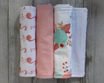 Burp Cloth Set | Baby Girl Gift | Baby Shower Gift | Baby Girl | Floral Burp Cloth | Flamingo