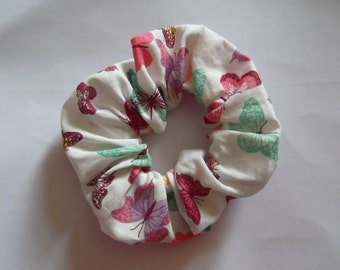 Butterflies Hair Scrunchie, Cotton Hair Scrunchie, chouchou, summer hair