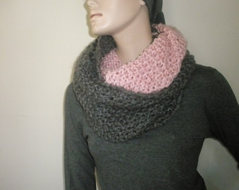 Grey-pink handmade knitted scarf