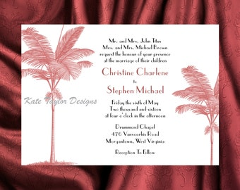 Palm Tree Wedding Invitation & RSVP - Tree Wedding Invitations - Palm Tree Wedding Invitation - Palm Tree Invitations - Tree Design 40