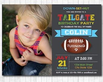 Football Tailgate Invitation, Football Invite, Sports Birthday, Sports Invitation, chalkboard, photo invitation, printable