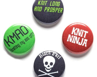 Knitter Theme Buttons, 1 inch pin back, Knit Ninja, Set of 4