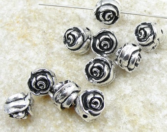 TierraCast Rose Beads - Antique Silver Beads - Tierra Cast Rose Bud Flower Beads (P153)