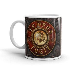 """Latin Steampunk Mug - """"Time Flies"""""""