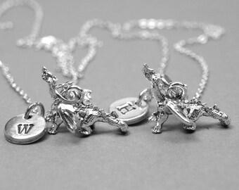 Best friend necklace, dragon necklace, friendship necklace, bff necklace, best friend jewelry, personalized necklace, initial, monogram