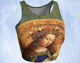 Cropped top, top de Yoga, l'art à porter, retable de Gand, Reine des cieux, haut de la Vierge Marie, vierge, vêtements de Yoga, dessus de Yoga, dessus de Bohème, son cadeau